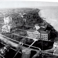 Aerial view of Evanston campus circa 1907