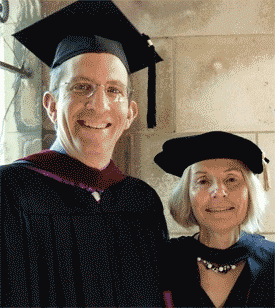 Paul Sagan, a trustee of Northwestern University, at SESP Convocation with Dean Penelope Peterson.