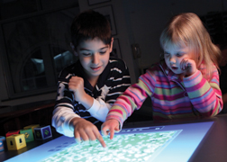 kids with touch table