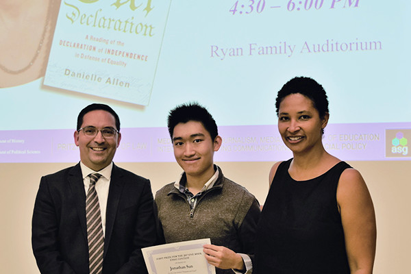 sesp freshman wins one book essay prize northwestern university   l r one book faculty chair gary cadava jonathan sun danielle allen